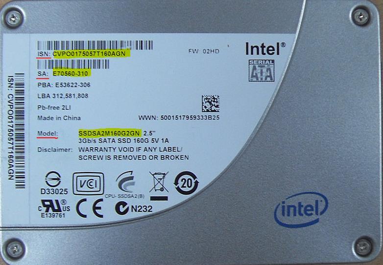 Check bảo hành SSD Intel