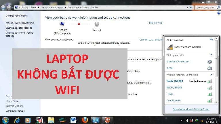 Lỗi laptop không bắt được wifi Win 7